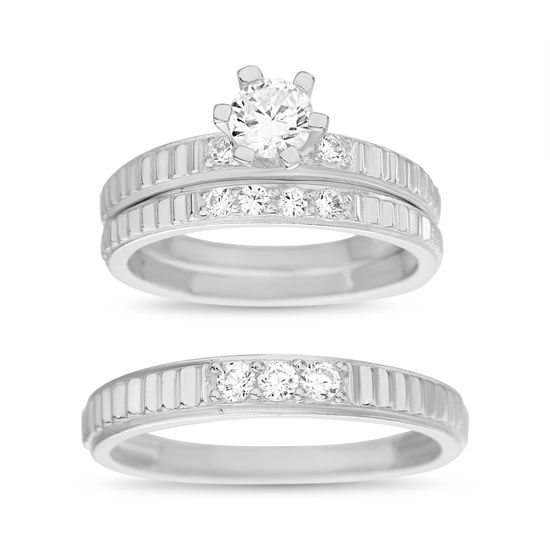 Imagen de Sterling Silver Cubic Zirconia 3 Piece Baguette Design with 6 Prong Center Wedding Band Rings Size 7