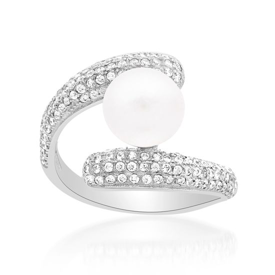 Imagen de Sterling Silver Freshwater Pearl and Cubic Zirconia Bypass Ring