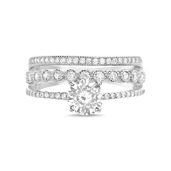 Imagen de Sterling Silver Cubic Zirconia 3 Row Ring Size 6