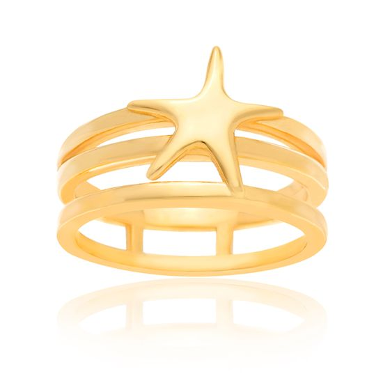 Imagen de Sterling Silver Triple Strand Open Works Center Starfish Ring