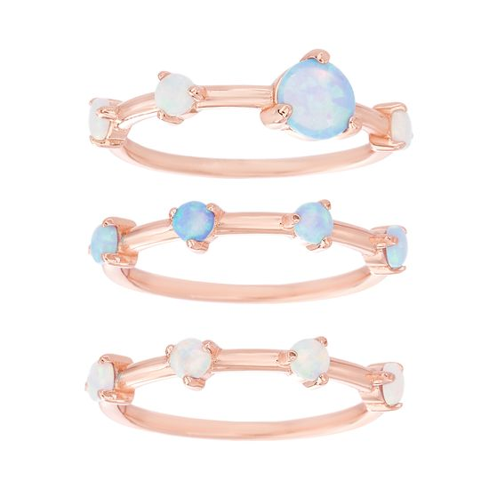 Imagen de Sterling Silver 3pc Blue & White Opal Stackable Ring Set Size 6