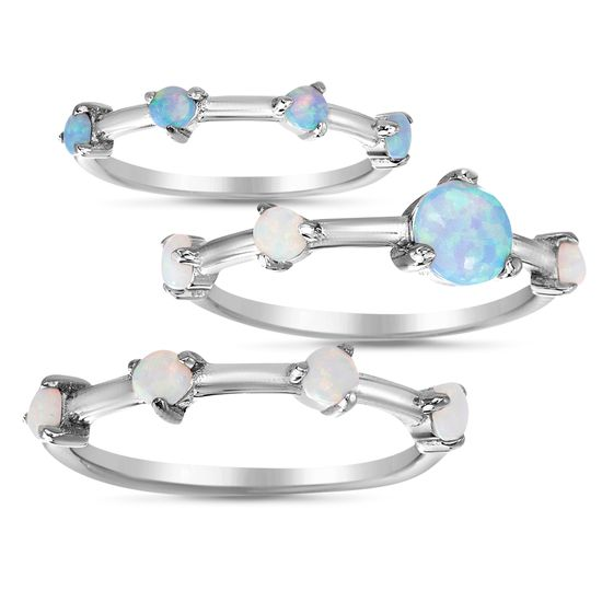 Picture of Sterling Silver Opal Stackable Ring Set Size 7