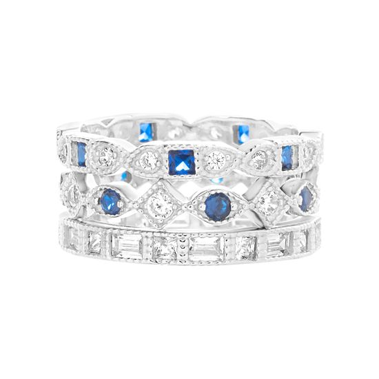 Imagen de Sterling Silver Cubic Zirconia Clear and SPPR 3 Piece Multi-Shape Bezel and Baguette  Stackable Rings