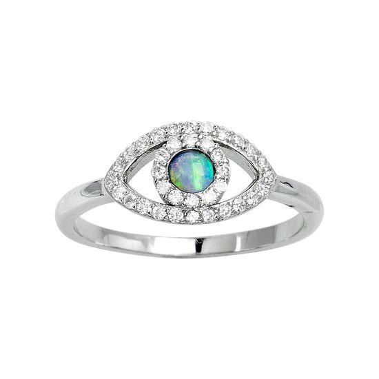 Imagen de Sterling Silver Cubic Zirconia Blue Opal Evil Eye Ring Size 7