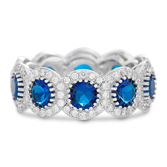 Imagen de Sterling Silver Round Royal Blue/Clear Cubic Zirconia Eternity Band Ring Size 8