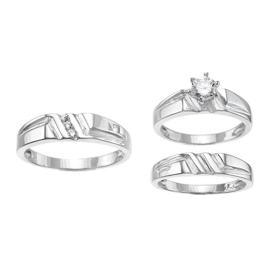 Imagen de Sterling Silver Cubic Zirconia Trio Triple Diagonal Stripe Round 6 Prong Center Wedding Rings Size 7/10