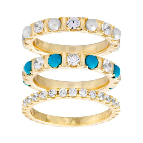 Imagen de Sterling Silver Cubic Zirconia /Pearl/Turquoise Eternity Band Trio Ring Set Size 8