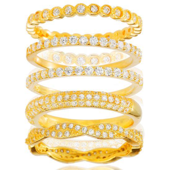 Imagen de Sterling Silver Cubic Zirconia Bezel Eternity Twisted Design 5 Piece Ring Set Size 6