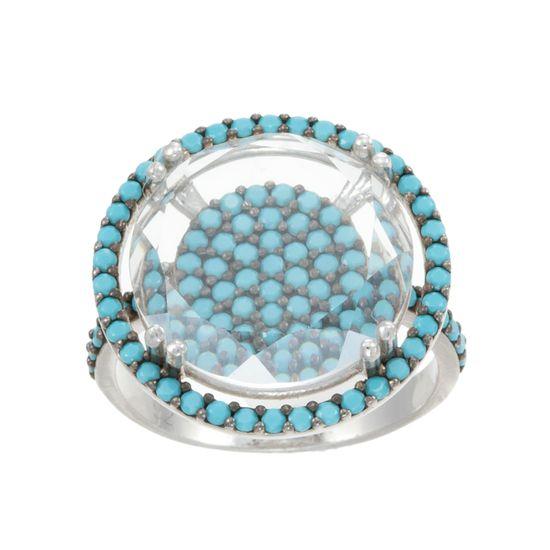 Imagen de Round Shaped Turqouise Cubic Zirconia Ring Size 7