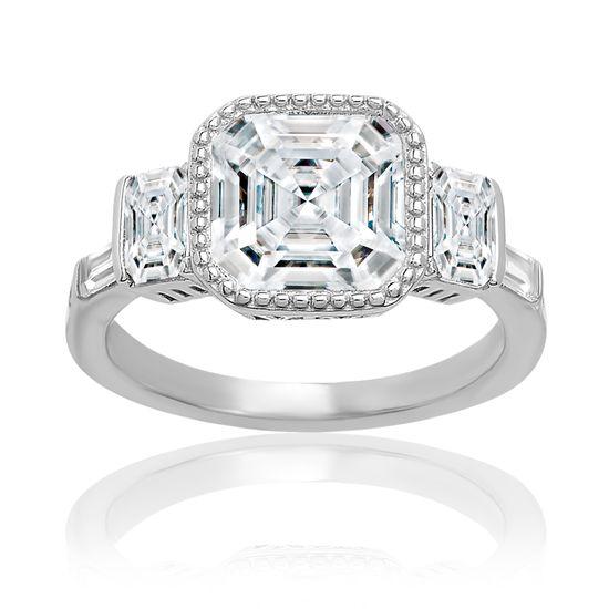 Imagen de Sterling Silver Clear Asscher Bezel Cubic Zirconia Ring Size 7