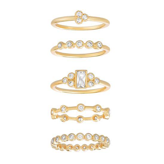 Imagen de Sterling Silver Round/Baguette Cubic Zirconia 5 Piece Ring Set Size 8