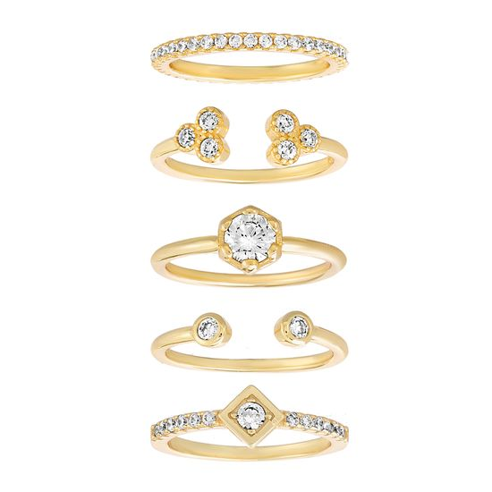 Picture of Sterling Silver Cubic Zirconia Stackable 5 Piece Open Work Ring Set Size 7