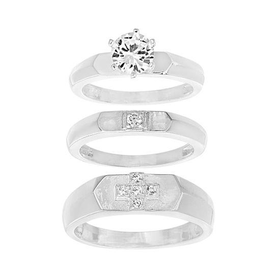 Imagen de Sterling Silver Cubic Zirconia Cross Men/Women 3pc Wedding Ring Set  Size 9/9