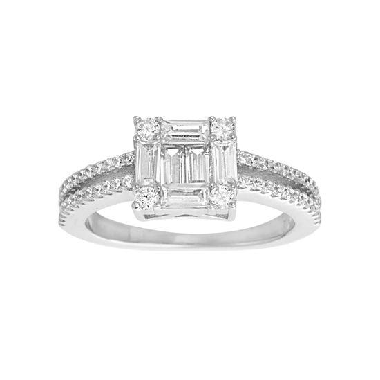Imagen de Princess-Cut Cubic Zirconia Bridal Ring in Sterling Silver