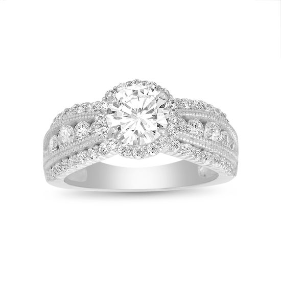 Imagen de Sterling Silver Round Center Halo CZ Band Engagement Ring Size 7