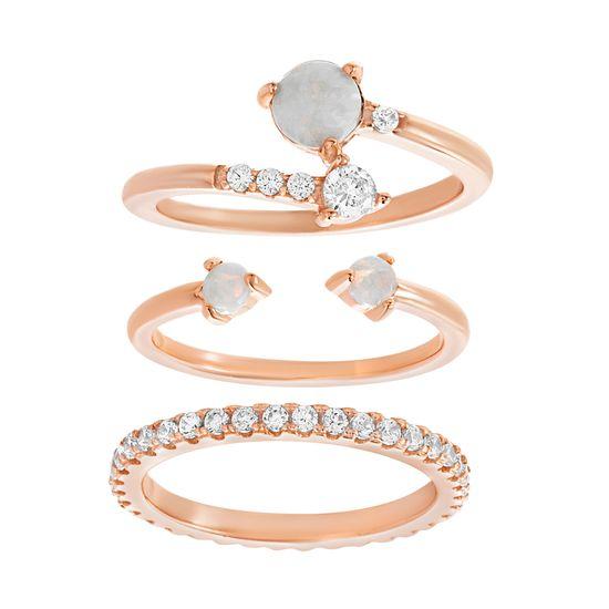 Imagen de Sterling Silver White Opal/ Cubic Zirconia 3 Piece Stackable Rings Size 6