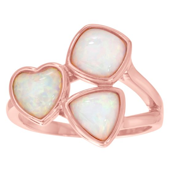 Imagen de Sterling Silver White Opal Triangle/Heart/Square Shaped Ring Size 6