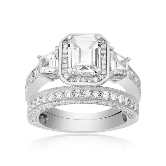 Imagen de Cubic Zirconia Emerald Cut and Band Duo Engagement Ring Set in Sterling Silver