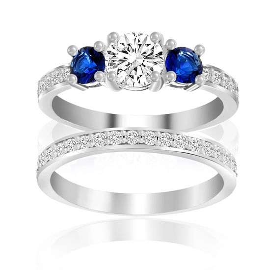 Imagen de Sterling Silver Blue/Clear Cubic Zirconia Duo Engagement Ring Set Size 6
