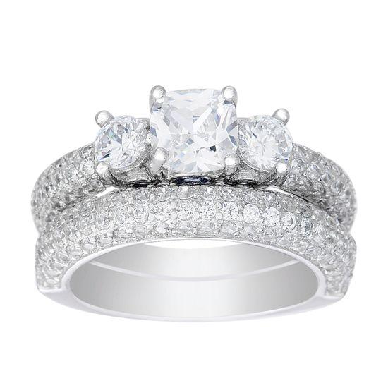 Imagen de 3-Stone Cubic Zirconia Bridal Set in Sterling Silver