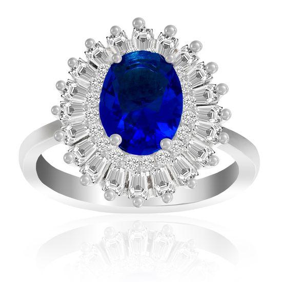 Imagen de Sterling Silver Blue Oval/Clear Baguette Cubic Zirconia Ring Size 7