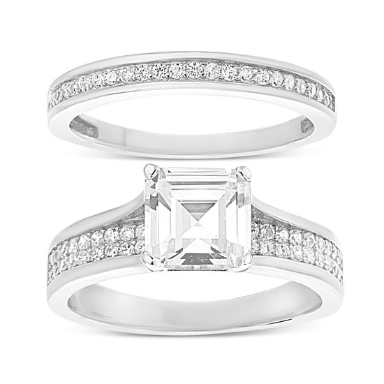 Imagen de Sterling Silver Cubic Zirconia Duo Engagement Ring Set Size 8