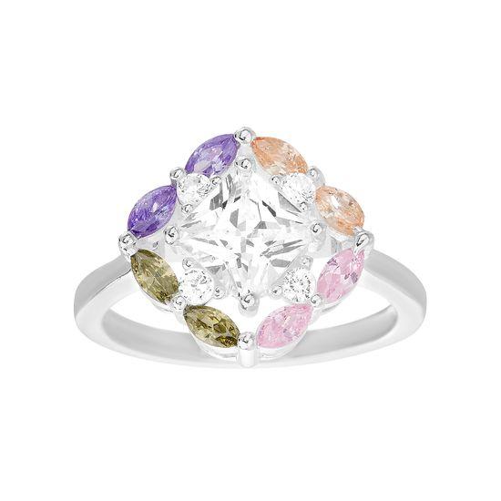 Imagen de Sterling Silver Purple/Orange/Pink/Green/Clear Cubic Zirconia Star Center Ring Size 8