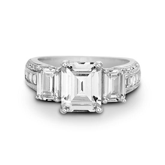 Imagen de Sterling Silver Cubic Zirconia Engagement Ring Size 8