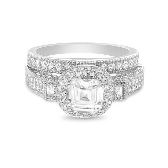 Imagen de Sterling Silver Asscher Cut Cubic Zirconia 2pc Engagement Ring Set Size 7