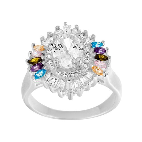 Imagen de Sterling Silver Multi Colored Cubic Zirconia Border Oval Shaped Design Ring Size 9