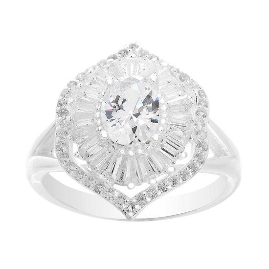 Imagen de Sterling Silver Cubic Zirconia Border Floral Design Ring Size 7