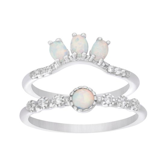 Imagen de Sterling Silver 2pc Bezel Cubic Zirconia & White Opal Ring Set Size 7