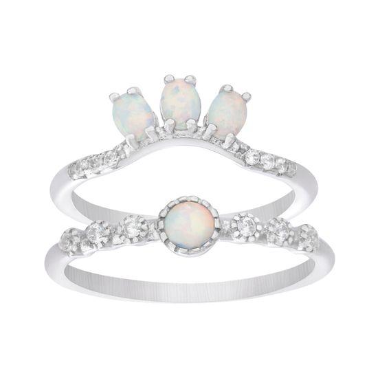 Imagen de Sterling Silver 2pc Bezel Cubic Zirconia & White Opal Ring Set Size 8