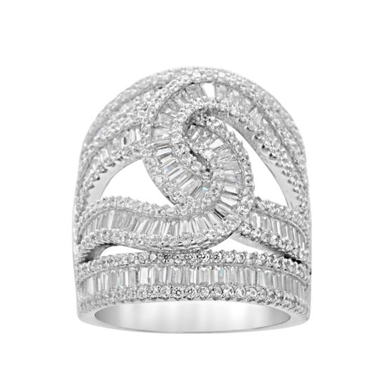 Imagen de Sterling Silver Baguette Cubic Zirconia Intertwined Open Work Ring Size 7