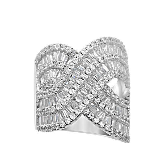 Imagen de Sterling Silver Baguette Cubic Zirconia X Design Double Layer Ring Size 7