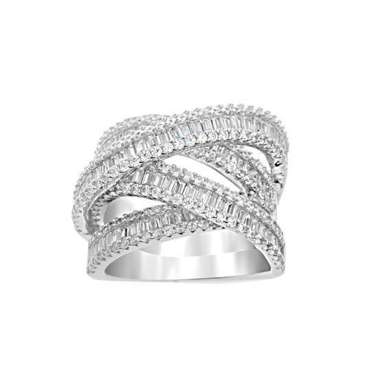 Imagen de Sterling Silver Cubic Zirconia Crossover Design Ring Size 8