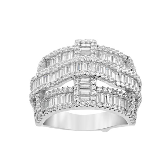 Imagen de Sterling Silver Cubic Zirconia Overlapping Layer Design Ring Size 6