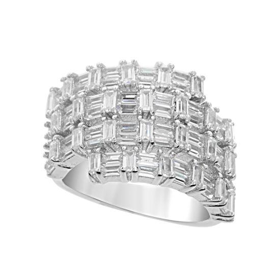 Imagen de Sterling Silver Baguette Cubic Zirconia Bypass Ring Size 6