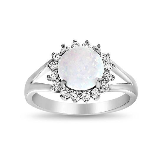 Imagen de Sterling Silver White Opal W/ CZ Floral Border Open Design Ring Size 6