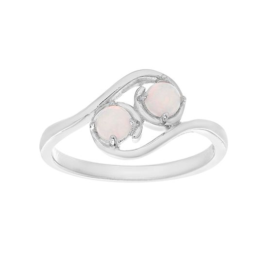 Imagen de Sterling Silver White Opal Bypass Ring Size 080