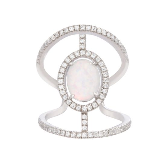 Imagen de Sterling Silver Oval Opal Cubic Zirconia Border Open Work Ring Size 7