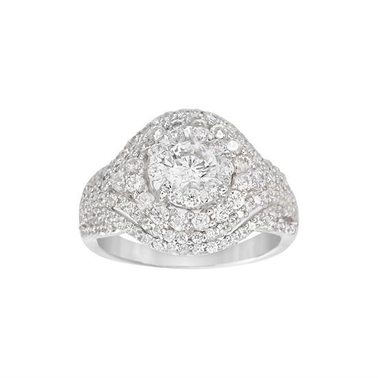 Imagen de Sterling Silver Round Cubic Zirconia Borders Ring Size 8