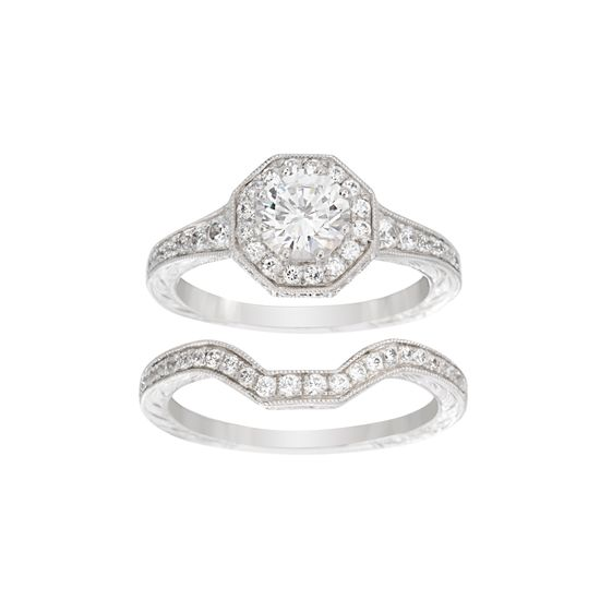 Imagen de Sterling Silver Cubic Zirconia Center Geo Shaped Border Duo Wedding Ring Set Size 6