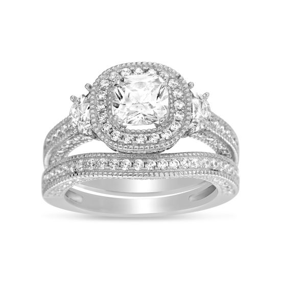 Imagen de Sterling Silver Cubic Zirconia Center Halo Duo Wedding Ring Set Size 6