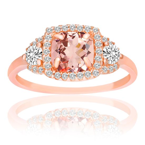 Imagen de Sterling Silver Princess Cut Simulated Morganite/Clear Cubic Zirconia Squared Design Ring Size 8