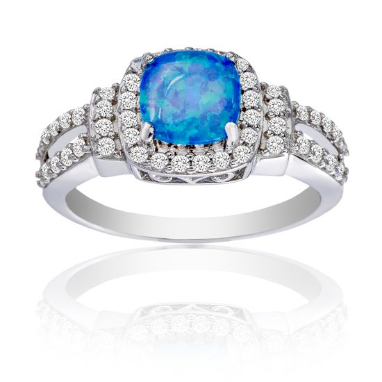 Imagen de Sterling Silver Round Blue Opal Cubic Zirconia Border Square Ring Size 8
