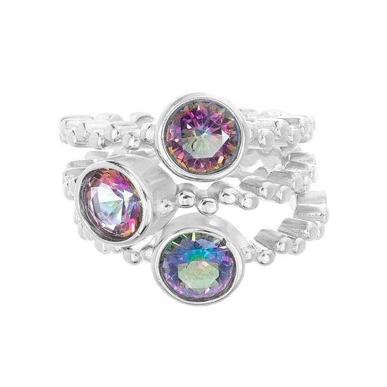Imagen de Sterling Silver Mystic CZ Wavy Design Ring Size 060