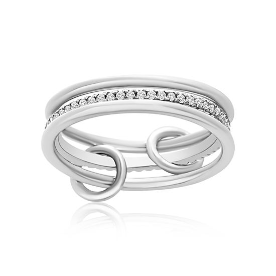 Imagen de Sterling Silver 3pc Polished/Cubic Zirconia Eternity Band Ring Set Size 6
