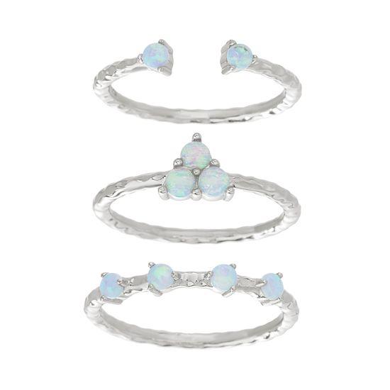 Imagen de Sterling Silver Blue Opal Trio Stackable Ring Set Size 8