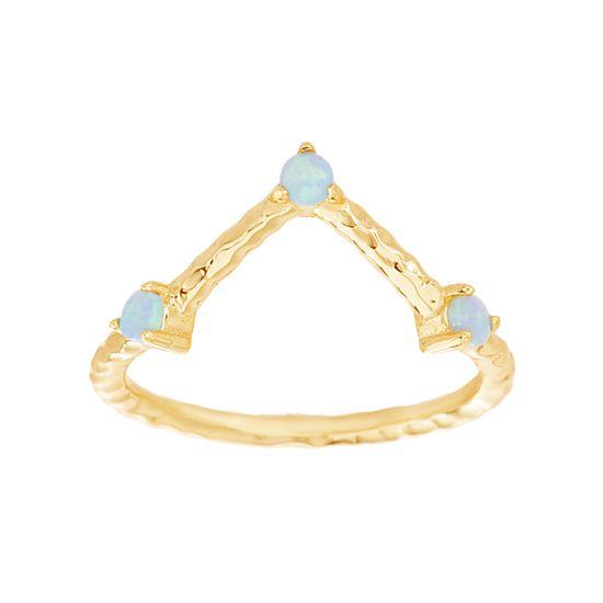 Imagen de Sterling Silver Blue Opal Triangle Design Ring Size 8